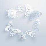 De sneeuwvlokken zijn de vlinders van de winter Stock Foto's