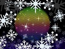 De sneeuwvlokkenbal toont de Kleurenwinter en Festiviteiten vector illustratie