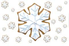 De sneeuwvlokkoekje van de peperkoek Stock Afbeeldingen
