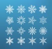 De sneeuwvlokwinter Reeks van vlok van sneeuw op donkerblauwe achtergrond royalty-vrije illustratie