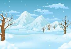 De sneeuwweiden van de de winterdag met leafless bomen en dalende sneeuwvlokken Bergen en bewolkte hemel op de achtergrond royalty-vrije illustratie