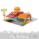 De snel voedselbouw met hamburger op dak Royalty-vrije Stock Fotografie