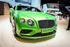 De Snelheid van Bentley Continental GT, Motorshow Geneve 2015 Royalty-vrije Stock Foto