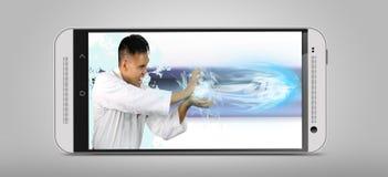 De snelheid van 4G die door een krachtige mens wordt getoond Royalty-vrije Stock Afbeeldingen