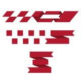 De snelheid vouwde Rode Gestileerde Geplaatste Lintenillustraties Stock Foto's