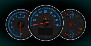De snelheidsmeter en t/min meten cluster Vector Illustratie