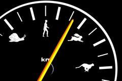 De snelheidsmeter van de auto met pictogrammen Stock Afbeeldingen
