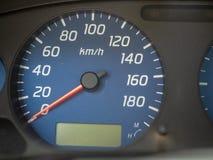 De snelheidsmeter van een auto bij nul kilometers per uur royalty-vrije stock foto's