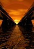 De snelheidsspeedwaybaan van de zonsondergang Royalty-vrije Stock Foto's