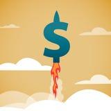 De snelle groei van de dollar Stock Afbeeldingen