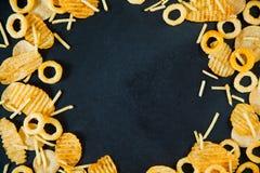 De snelle ui van het ongezonde kostconcept belt frietenchips Royalty-vrije Stock Fotografie