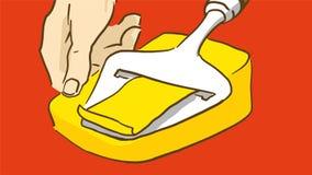 De Snijdende kaas van de beeldverhaalhand cooking royalty-vrije illustratie