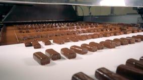 De snoepjes met chocolade gaan op een lopende band na het behandelen stock video