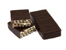De snoepjes van het wafeltje in chocolade stock afbeelding