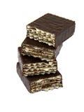 De snoepjes van het wafeltje in chocolade stock fotografie