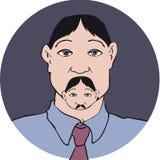 De snor van het mensengezicht Stock Foto