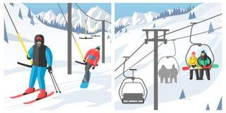 De Snowboarderzitting in van de skigondel en lift de sport van de liftenwinter neemt snowboard mensenrust het opheffen sprongvect Royalty-vrije Stock Foto's
