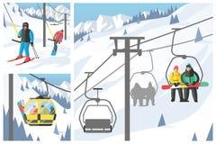 De Snowboarderzitting in van de skigondel en lift de sport van de liftenwinter neemt snowboard mensenrust het opheffen sprongvect Stock Fotografie