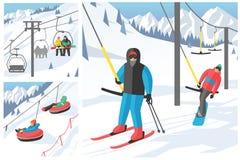 De Snowboarderzitting in van de skigondel en lift de sport van de liftenwinter neemt snowboard mensenrust het opheffen sprongvect Royalty-vrije Stock Foto