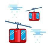De Snowboarderzitting in van de skigondel en lift de sport van de liftenwinter neemt snowboard mensenrust het opheffen sprongvect Stock Foto