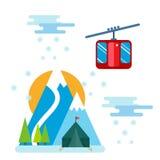 De Snowboarderzitting in van de skigondel en lift de sport van de liftenwinter neemt snowboard mensenrust het opheffen sprongvect Stock Afbeeldingen