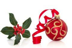 De Snuisterij en de Hulst van Kerstmis Royalty-vrije Stock Afbeelding