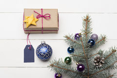 De snuisterijen en de decoratie van Kerstmis Stock Foto