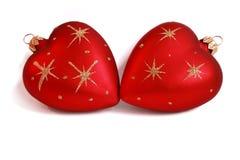 De snuisterijen van Kerstmis met hartvorm Stock Afbeeldingen