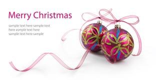 De snuisterijen van Kerstmis met linten Stock Afbeelding
