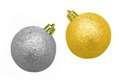 De snuisterijen van Kerstmis van Glittery - goud en zilver Royalty-vrije Stock Foto's