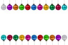 De snuisterijen van Kerstmisballen velen kleurrijk grens copyspace exemplaar spac stock illustratie