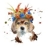 De snuit van de hond in het hoofddeksel wordt gemaakt in de vorm van een wreat Royalty-vrije Stock Afbeelding