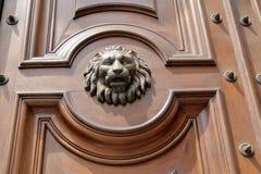 De snuit van leeuw op oude houten deur Stock Foto's
