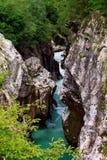 De Soca-Rivier, het Nationale Park van Triglav Stock Foto