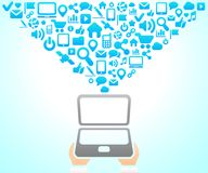De sociale achtergrond van het Netwerk van de pictogrammenvector Royalty-vrije Stock Foto
