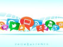 De sociale achtergrond van het Netwerk van de pictogrammenvector Stock Afbeelding