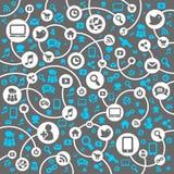 De sociale achtergrond van het Netwerk van de pictogrammenvector Stock Fotografie