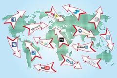 De sociale kaart van de netwerkwereld Royalty-vrije Stock Fotografie