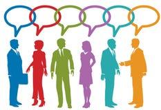 De sociale media bedrijfsmensen spreken toespraakbel Stock Foto's