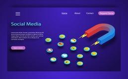 De sociale media concepten vectorillustratie met magneet het in dienst nemen aanhangers en houdt van Strategie om klanten te beho vector illustratie