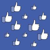De sociale media, duimen ondertekenen omhoog Patroon op een blauwe achtergrond Vector illustratie Stock Fotografie