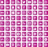 De Sociale Media eps10 van downloadpictogrammen Stock Afbeeldingen