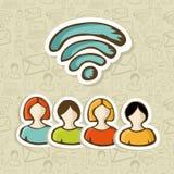 De sociale media interactie van de mensengroep RSS stock illustratie