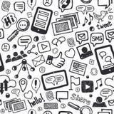 De sociale Media Krabbels overhandigen Getrokken Naadloos Patroon Stock Afbeeldingen
