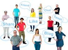 De sociale media nemen de wereld over stock afbeelding