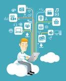 De sociale media van het bedrijfsmensenspel op tablet. Stock Foto