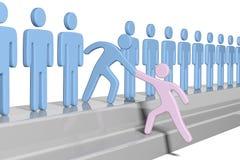 De sociale mensen helpen nieuw lid omhoog toetreden stock illustratie