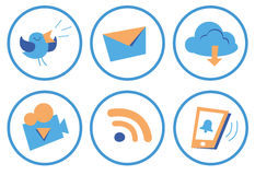 De sociale pictogrammen van het beeldverhaal Stock Afbeelding