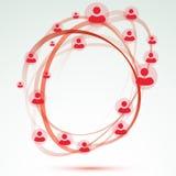 De sociale relatie van de de cirkelvriendschap van de netwerkgebruiker Stock Afbeelding