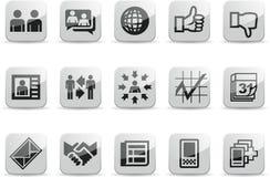 De sociale Witte Glanzende pictogrammen van het Netwerk plaatsen 2 Stock Afbeeldingen